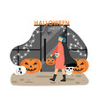 woman in witch halloween costume going to night vector image vector image