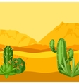 mexican desert with cactuses and vector image