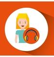 headphones music character girl blonde vector image