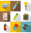 art school icon set flat style vector image