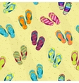 Seamless background with beach slippers on the vector image