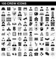 100 crew icons set simple style vector image vector image