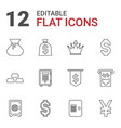 12 wealth icons vector image vector image