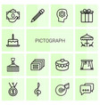 14 pictograph icons vector image vector image