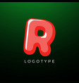 3d playful letter r kids and joy style symbol vector image vector image