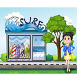 A woman thinking in front of the surfing shop vector image