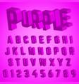 alphabet font purple design vector image vector image