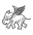angel flying baby elephant engraving vector image vector image
