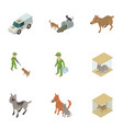 animal protection icons set isometric style vector image vector image