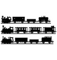black silhouettes of three vintage steam trains vector image vector image