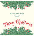 christmas card with tree branches and wishes vector image