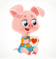cute cartoon pig holding a toy cube in hooves vector image vector image