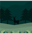 deer silhouette in forest vector image