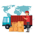 delivery worker with boxes character vector image vector image