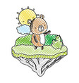 doodle nice bear animal in the float island vector image vector image