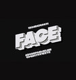 face font 3d bold style white style vector image vector image