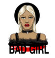 fashion blond hair girl face vector image