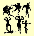 fighting silhouette vector image vector image