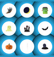flat icon celebrate set of zombie pumpkin vector image vector image
