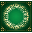 green background with golden floral frame vector image