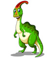 Green dinosaur looking happy vector image vector image