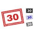 grunge 30 scratched rectangle stamp seals vector image vector image