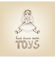 hand-drawn a vintage toy doll vector image vector image