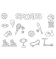 hand drawn sports set coloring book template vector image vector image