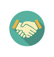 handshake icon in flat design business concept vector image