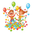 happy boy and girl playing with colorful balls vector image