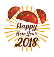 happy new year 2018 fan decoration chinese vector image vector image