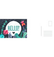 hello greeting card doodle leaves and flowers vector image vector image