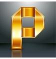Letter metal gold ribbon - P vector image vector image
