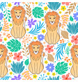 lions and tropical flowers vector image vector image