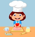 Little girl cartoon baking vector image