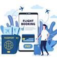 man buying ticket on flight via mobile app vector image