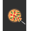 Margherita pizza on wooden board on black table vector image vector image