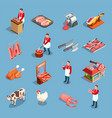 meat market icon set vector image vector image