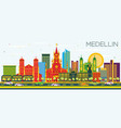 medellin colombia city skyline with color vector image vector image