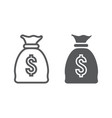 money bag line and glyph icon finance vector image vector image