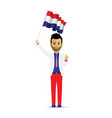 netherlands flag waving man vector image vector image