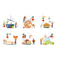 oversize dish and mini people characters set vector image