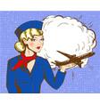 pop art stewardess vector image vector image