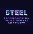 retro futuristic latin font shiny chrome letters vector image vector image