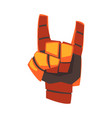 robot hand showing rock sign orange mechanical vector image vector image