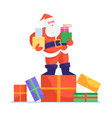 santa claus in red costume and hat stand on huge vector image