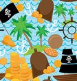Seamless background pirate island colorful kids vector image