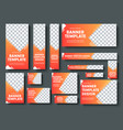 Set orange yellow web banners with place