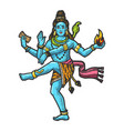 shiva indian god engraving vector image vector image