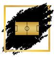 soccer field golden icon at black spot vector image